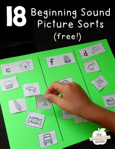 18 free picture sorts for beginning sounds the measured mom