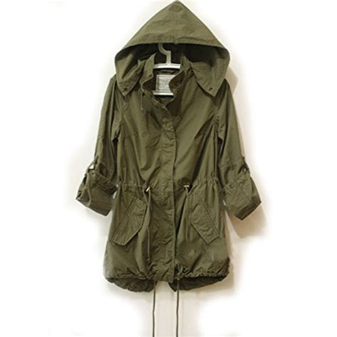 Outer Outwear Outerwear Jaket Oversize Oversized Abu Abu Biru easy leisure army green parka button trench hooded coat jacket apparel in the