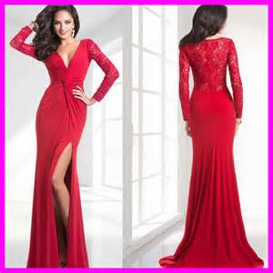 nice red v neck long sleeve lace evening dress pleat side