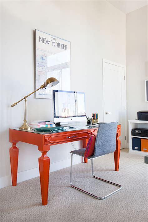 bright colored desk bright orange desk brings color to the home office decoist