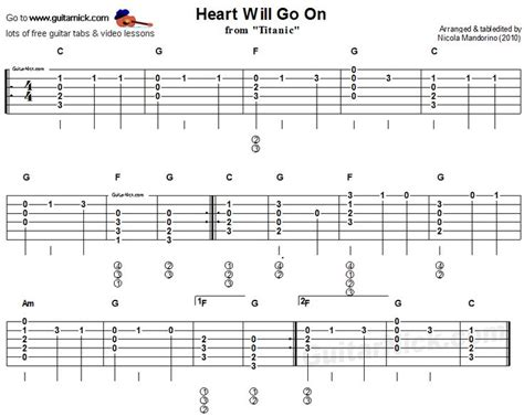 guitar tutorial acoustic songs heart will go on from titanic easy acoustic guitar tab