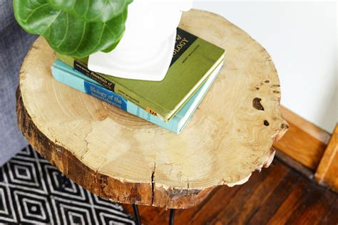 wood slab side table diy wood slab side table with hairpin legs