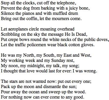 Golden Wedding Anniversary Songs Tagalog by Funeral Blues W H Auden Beautiful Clock And The O Jays