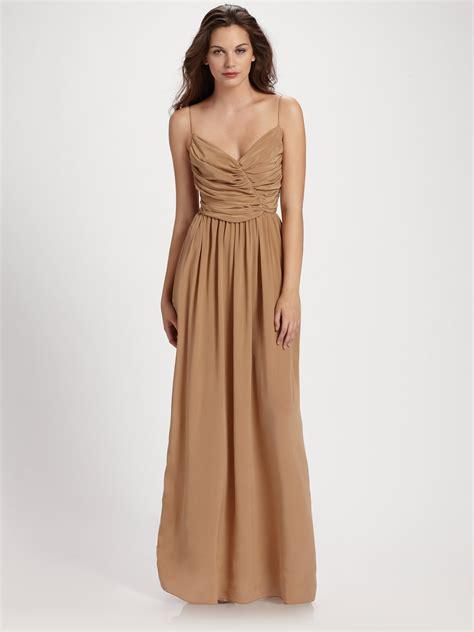 silk drape dress zimmermann ballerina silk drape maxi dress in brown