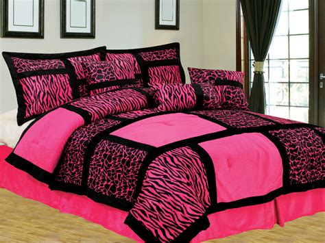 pink fur comforter 7 pc safari patchwork micro fur comforter set giraffe