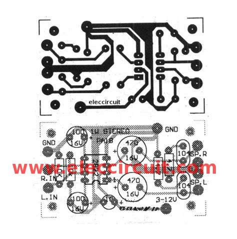 layout pcb lifier tda2822 stereo lifier datasheet eleccircuit com