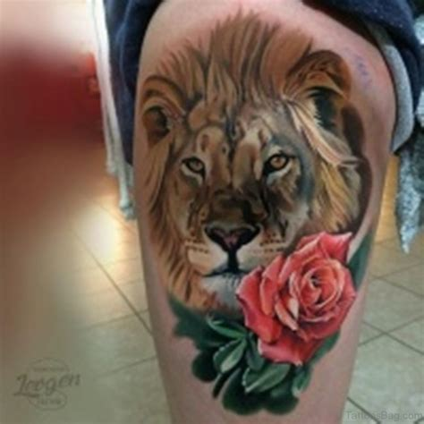 rose and lion tattoo 48 looking tattoos on thigh