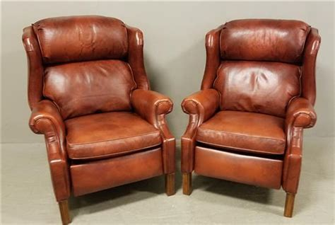 ethan allen brown leather recliner pair of ethan allen brown leather wing back recliners 40 quot h