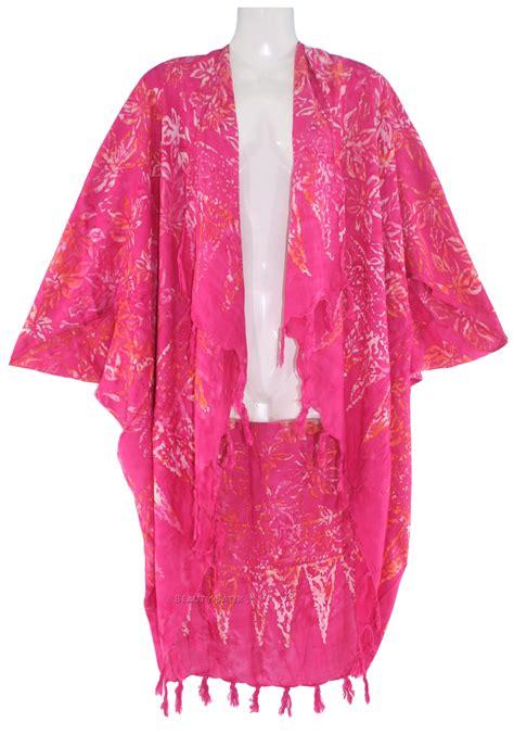 Basic Batik Kimono 4 fuchsia batik kimono shawl wrap plus size jacket