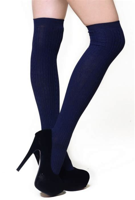 thigh high cable knit socks socks preppy cable knit navy thigh high socks