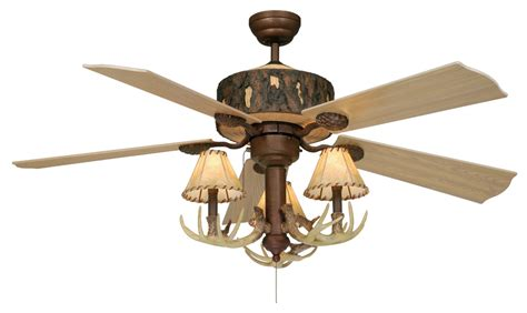 deer horn ceiling fans rustic antler ceiling fan with faux leather shades
