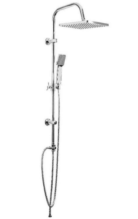saliscendi doccia con soffione e doccetta colonna doccia a ponte square metaform acciaio inox con