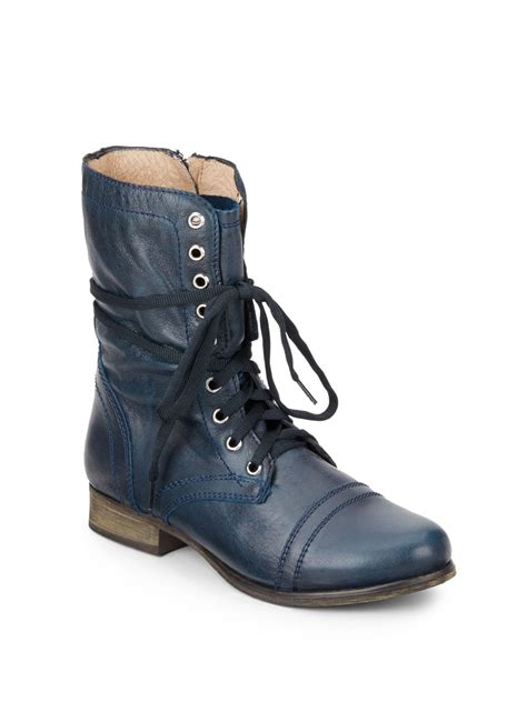 blue combat boots steve madden troopa leather combat boots in blue denim