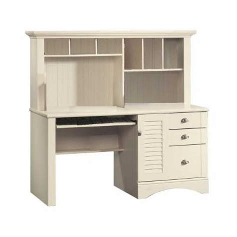 sauder harbor view computer desk with hutch antiqued white sauder harbor view collection antiqued white computer desk with hutch 158034 the home depot