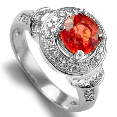 Orange Sapphire 5 35ct anzor jewelry 18k white gold 1 35ct orange sapphire 0