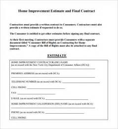 house construction estimate template 6 contractor estimate templates free word excel pdf