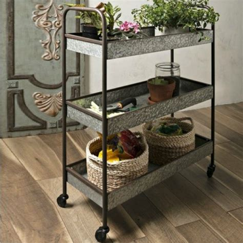 galvanized rolling  tiered cart antique farmhouse