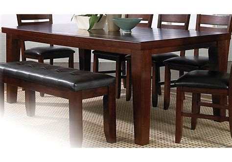 lake tahoe brown rectangle dining table room and side in