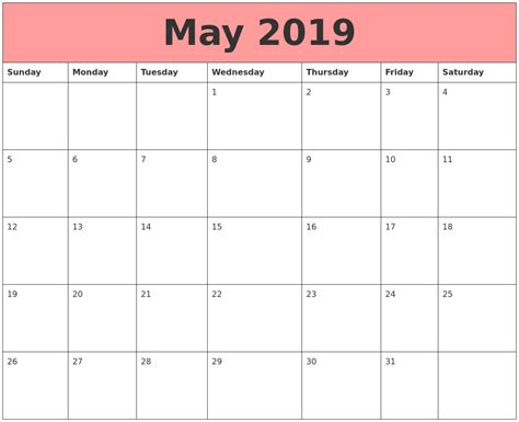 Calendars That Work With May 2019 Calendars That Work