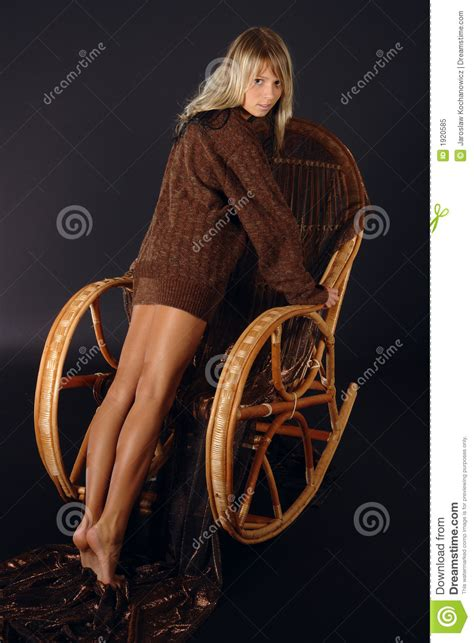 girl   rocking chair royalty  stock photo image