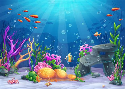 vector cartoon ocean underwater world background material cartoon blue childrens background