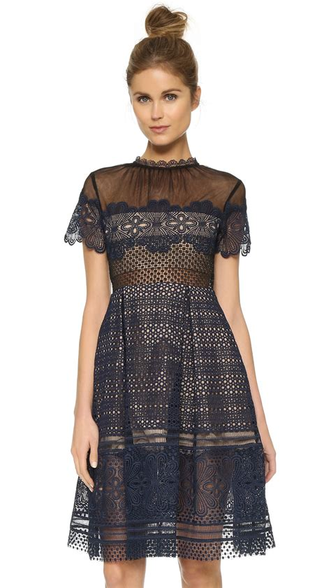 lyst self portrait felicia embroidered sheer lace dress in blue