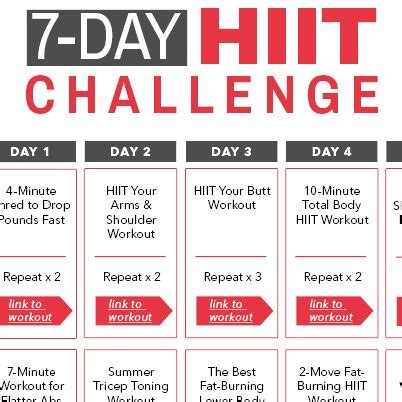 7 day challenge 7 day hiit challenge calendar ms