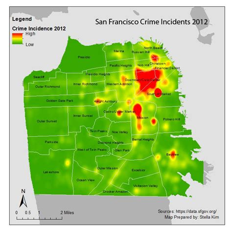 san francisco map crime stella introduction to gis