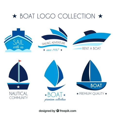sailboat logo collection of boat logos in blue tones vector free download