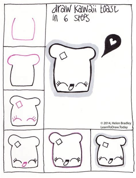 learn to draw doodle draw kawaii toast step by step drawing step by step