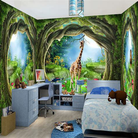 wall murals in kids bedroom warmojo com 3d stereo fantasy fairy forest tree animal house theme