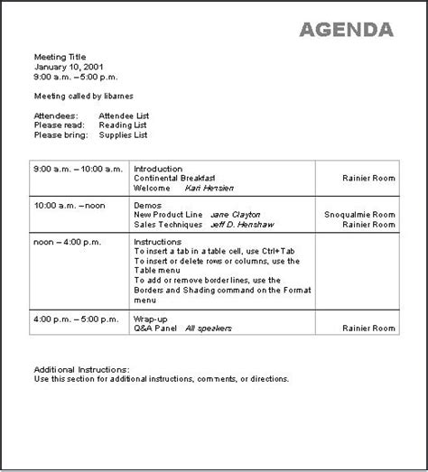 basic agenda template printable templates