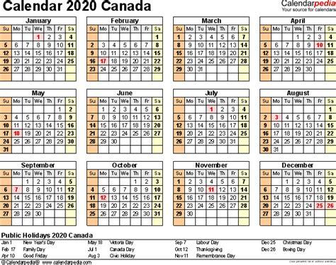 2020 Year Calendar Canada Calendar 2020 Free Word Calendar Templates