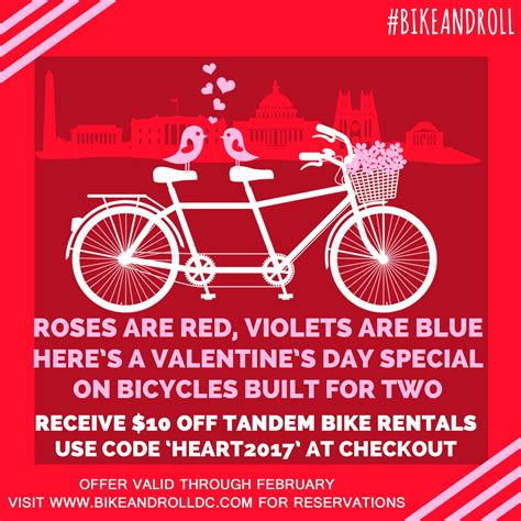 washington dc valentines day valentine s day special bike and roll dc
