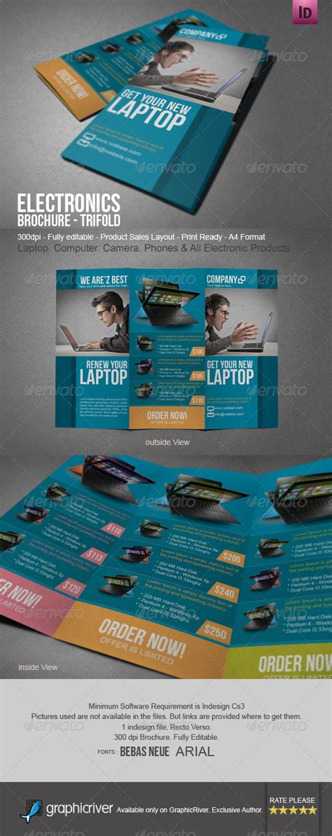 Electronic Sales Brochure Tri Fold By Blogankids Graphicriver Electronic Brochure Templates
