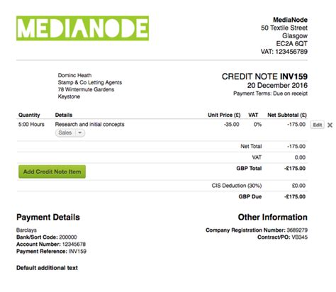 design invoice freeagent create a credit note freeagent