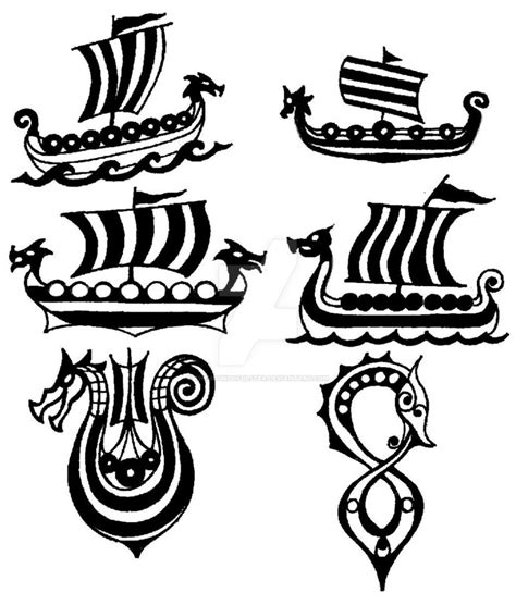 viking longship tattoo design drakkar viking ship small flashes by