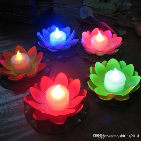 artificial lotus flower 2017 artificial led candle floating lotus flower with