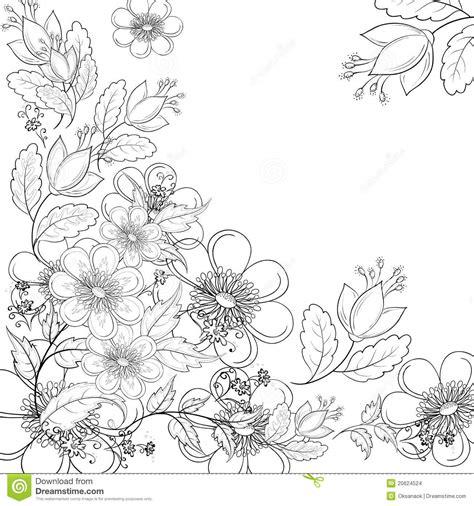 bloemen zwart wit tekening de achtergrond van de bloem contouren stock afbeeldingen
