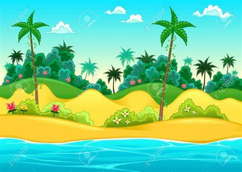 imagenes de paisajes animados paisaje en la orilla del mar ilustraci 243 n vectorial de