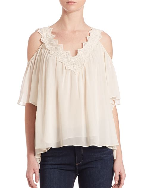 V Neck Shoulder Top sam lace v neck cold shoulder top in white ecru lyst