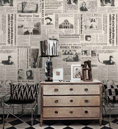 Wallpaper New York Ns3130 Wallpaper Dinding Motif papier peint journal et pages de livres conseils d 233 co