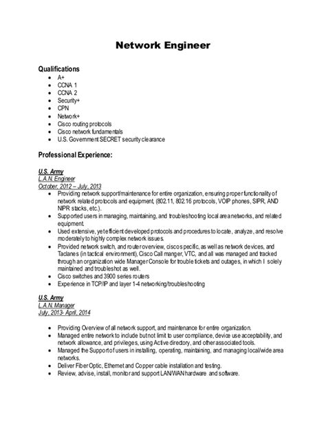 network engineer curriculum vitae sle network engineer resume