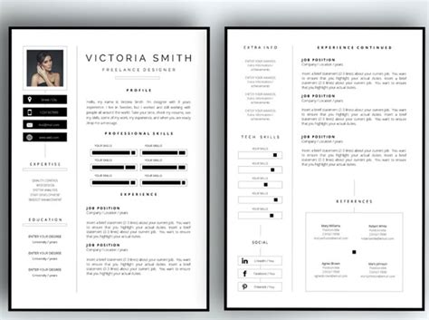 2 Page Resume Template by 50 Awesome Resume Templates 2016