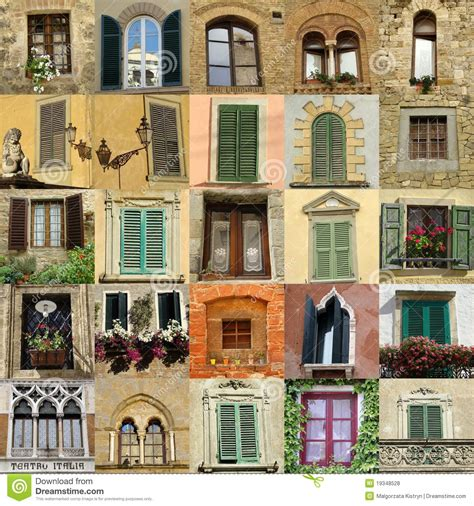 collage  antique windows  italy royalty  stock