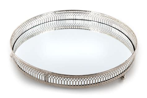 Silver Candle Tray by Silver Effect Mirror Tealight Candle Tray Plate 28cm