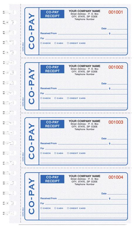 copay receipt template co pay receipt books