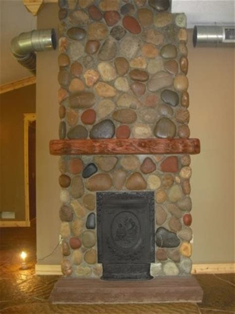 cobblestone fireplace natural round cobblestone fireplace mediterranean