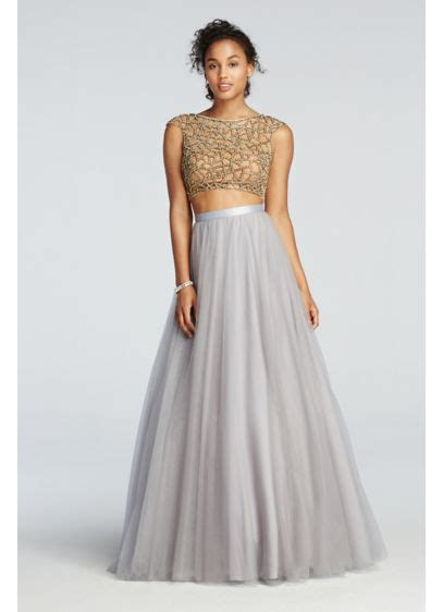 Tulle Top Dress two beaded prom crop top with tulle skirt david s