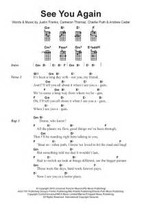 Lyrics For Sia Chandelier See You Again Feat Charlie Puth Sheet Music By Wiz